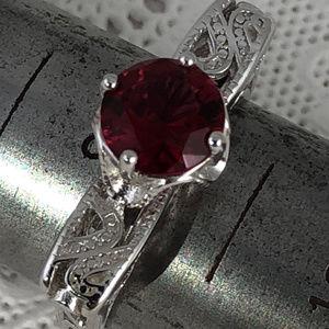 1.33 Carat Ruby & White Topaz 925 Silver Ring